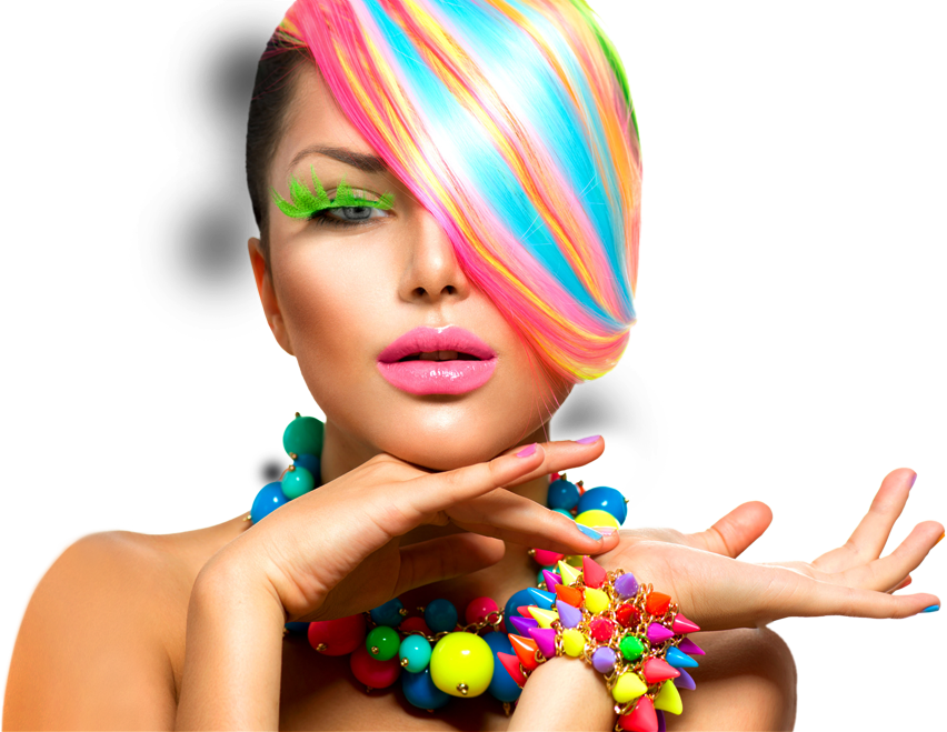 Woman with colored accessoires by fibaplast plastic colors